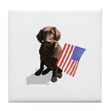 4th of July pup Tile Coaster