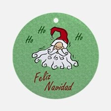 Merry Christmas (Spanish): Green Ornament (Round)