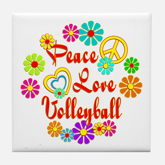 Peace Love Volleyball Tile Coaster