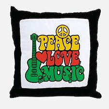 Reggae Peace Love Music Throw Pillow