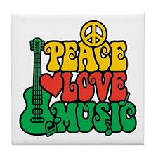 Reggae Peace Love Music Tile Coaster