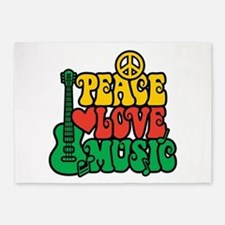 Reggae Peace Love Music 5'x7'Area Rug