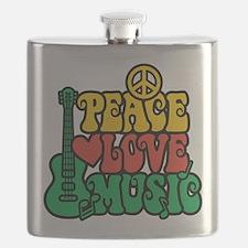 Reggae Peace Love Music Flask