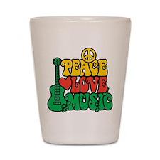Reggae Peace Love Music Shot Glass