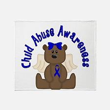 CHILD ABUSE AWARENESS WITH TEDDY BEAR Throw Blanke