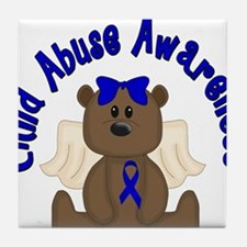 CHILD ABUSE AWARENESS WITH TEDDY BEAR Tile Coaster
