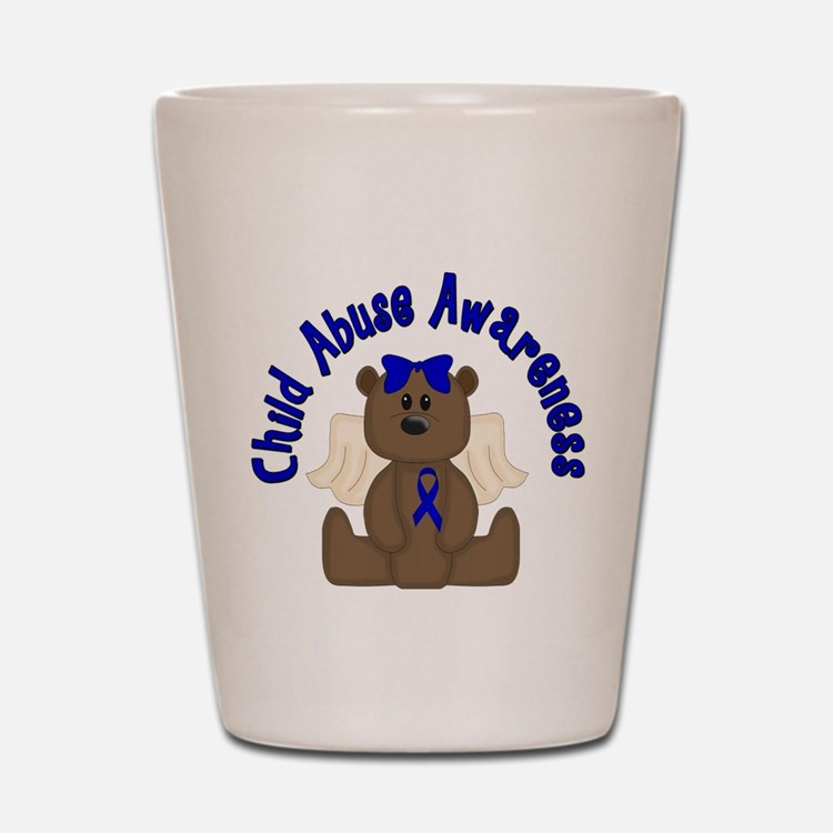 CHILD ABUSE AWARENESS WITH TEDDY BEAR Shot Glass