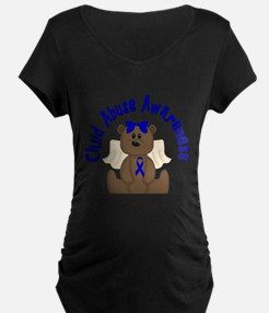 CHILD ABUSE AWARENESS WITH TEDDY BEAR Maternity T-