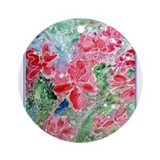 Pretty red flowers, art, Ornament (Round)