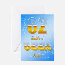 62nd birthday beer Greeting Card