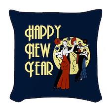 Retro Happy New Year Woven Throw Pillow