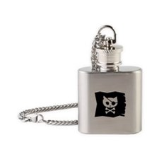 Pirate Kitty Flask Necklace (Jolly Roger Flag)