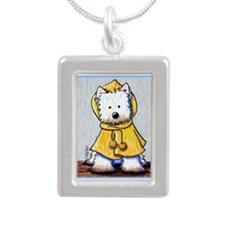 Rainy Day Westie Silver Portrait Necklace