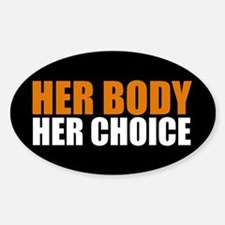 Her Body Her Choice Sticker (Oval)