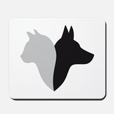 cat and dog head silhouette Mousepad