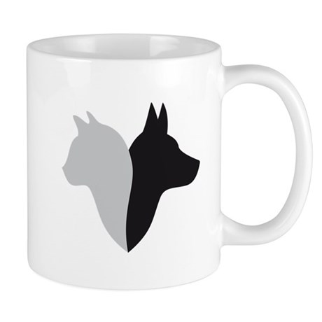 cat and dog head silhouette Mug