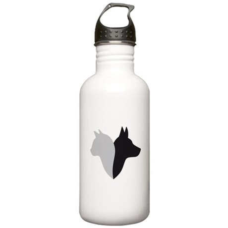 cat and dog head silhouette Stainless Water Bottle