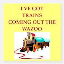 "trains Square Car Magnet 3"" x 3"""