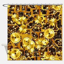 SteamClockwork-Brass Shower Curtain