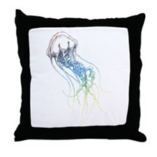 colorful jellyfish drawing Throw Pillow