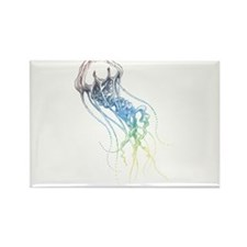 colorful jellyfish drawing Rectangle Magnet