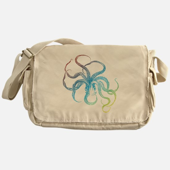 colorful octopus silhouette Messenger Bag