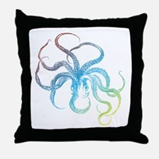 colorful octopus silhouette Throw Pillow