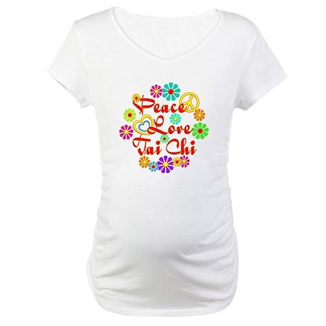 Peace Love Tai Chi Maternity T-Shirt
