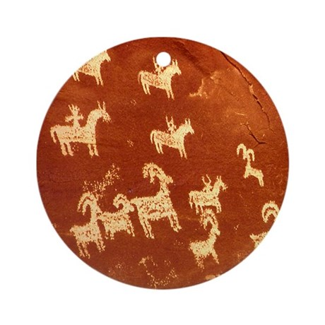 Atlatl Rock Petroglyphs Ornament (Round)