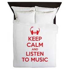 Keep Calm And Listen To Music Queen Duvet