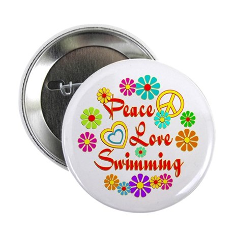"Peace Love Swimming 2.25"" Button (100 pack)"