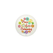 Peace Love Swimming Mini Button