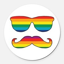 Rainbow Funny Face Round Car Magnet
