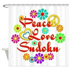 Peace Love Sudoku Shower Curtain
