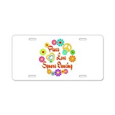 Peace Love Square Dancing Aluminum License Plate