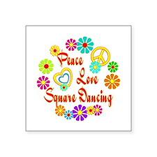 """Peace Love Square Dancing Square Sticker 3"""" x 3"""""""
