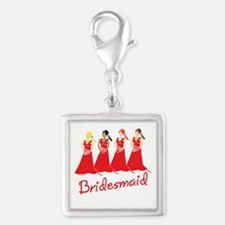 Red Bridesmaids Silver Square Charm