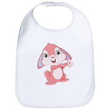 Pink Cartoon Rabbit Bib