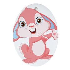 Pink Cartoon Rabbit Ornament (Oval)