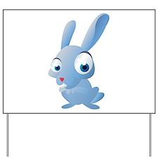 Blue Cartoon Rabbit Yard Sign