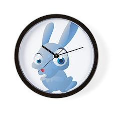 Blue Cartoon Rabbit Wall Clock