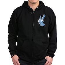 Blue Cartoon Rabbit Zip Hoodie