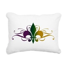 Purple Green Gold Fleur De Lis Rectangular Canvas