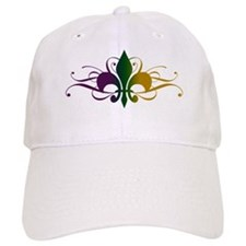 Purple Green Gold Fleur De Lis Baseball Baseball Cap