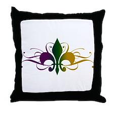 Purple Green Gold Fleur De Lis Throw Pillow