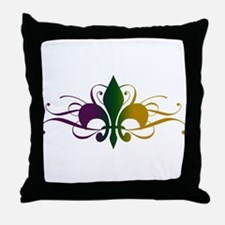 Purple Green Gold Fleur De Lis Throw Pillow
