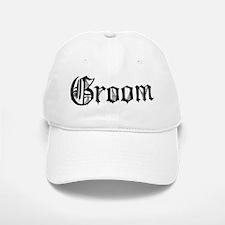 Gothic Text Groom Baseball Baseball Cap