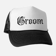 Gothic Text Groom Trucker Hat