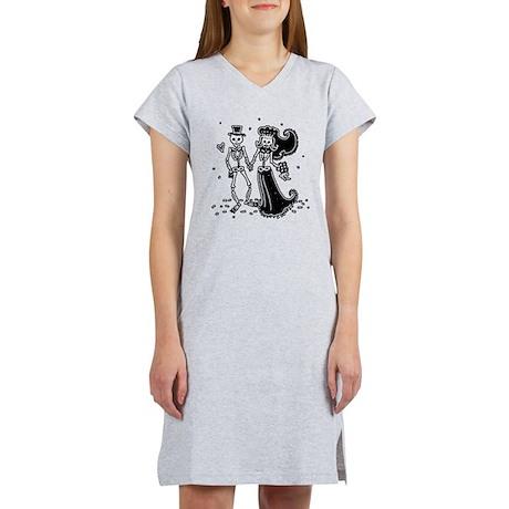 Skeleton Bride And Groom Women's Nightshirt