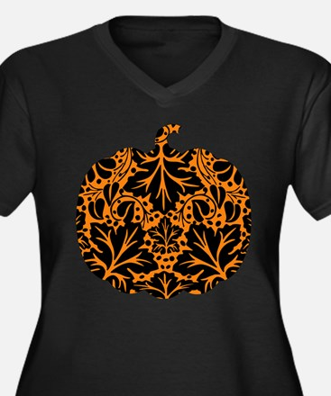 Damask Pattern Pumpkin Women's Plus Size V-Neck Da